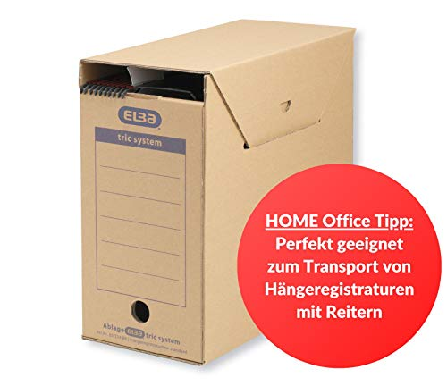 ELBA 100421089 Hängeregistratur-Box tric system Standard 6 Stück für Systemregistraturen mit Reitern naturbraun Archivschachtel Archivbox