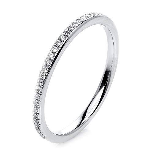 Memory Ring aus 750 Weißgold Breite:1,8mm mit 60 Brillanten 0,21 ct TW-si, Ringgröße:Innenumfang 54mm ~ Ø17.2mm