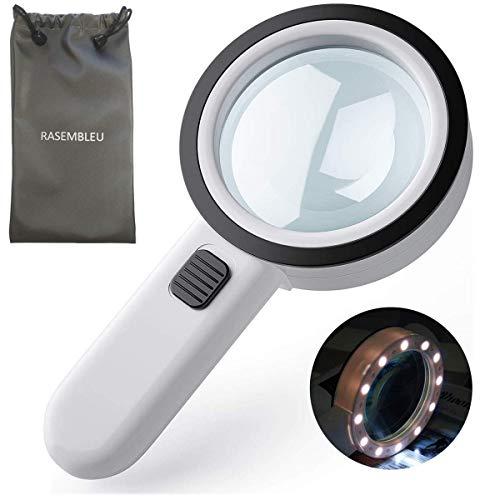 Lupe 5X mit Licht 12 LED, Beleuchtet Leselupe Handlupe Vergrößerungsglas zum Lesen mit Doppelglaslinse für Bücher, Zeitungen, Landkarten, Briefmarken, Münzen, Schmuck, mit Linsentuch & Kordelbeutel