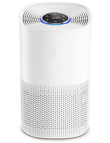 Purificatore d'aria, Filtro H13 True HEPA , L'effetto di filtraggio è del 99.97%, Visualizzazione in Tempo Reale Della Qualità Dell'aria, CADR Fino a 250m³/h,50m², Basso Rumore