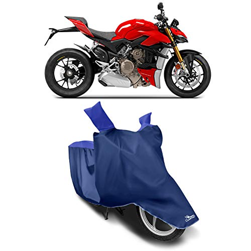 XAFO - Ducati Streetfighter V4 New BS6 Water Resistant - Dust Proof - Full Bike Scooty Two Wheeler Body Cover for Ducati Streetfighter V4 (Strip Royal Blue)