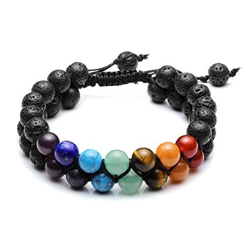 Top Plaza 7 Chakra Bracelet Natural Lava Rock Stones Beads Bracelets Aromatherapy Essential Oil Diffuser Bracelet Stress Relief Anxiety Bracelets for Women Men