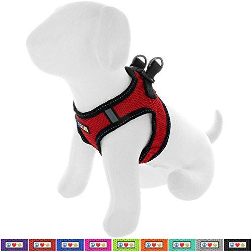PAWTITAS Pet Reflektierendes Hundegeschirr Geschirr zum Hineintreten oder Umlegen, Komfortsteuerung, Trainieren Sie den Spaziergang Ihres Welpen/Hundes - Klein Hundegeschirr Rot