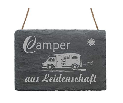 Wetterfeste Schiefertafel « CAMPER aus LEIDENSCHAFT » Motiv Wohnwagen Wohnmobil Caravan - Schild Türschild Dekoschild Geschenk - Campen Camping Dauercamper