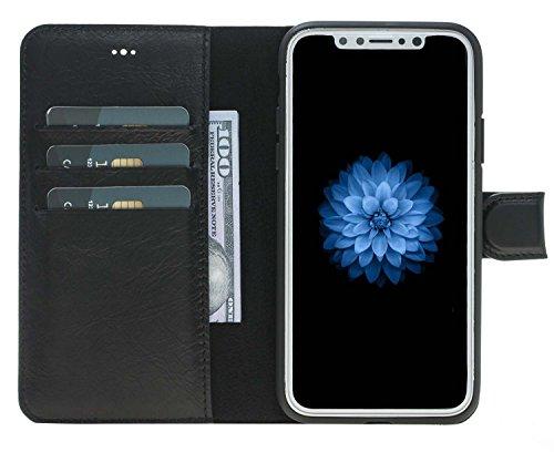 Capa carteira de couro para iPhone Xs/X Solo Pelle, Preto, Iphone X/XS