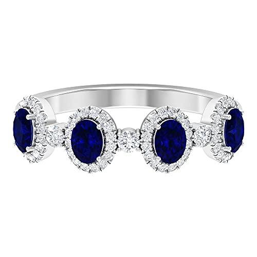 Anillos de boda para mujer, anillo de halo de diamantes, banda de eternidad de piedras preciosas, oro blanco, Metal precioso. Piedra preciosa. Piedra, Diamante negro creado en laboratorio,