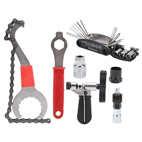 Juego de herramientas multifuncional para bicicletas de 7 piezas, juego de reparación de neumáticos de bicicleta, juego de herramientas para ruedas de cadena para bicicletas de montaña, bicicletas de