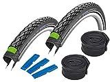 Schwalbe Fahrradreifen Set Marathon GreenGuard, 28 Zoll, 2 Stück inkl. 2 Schwalbe DV 17 Schläuche, 40-622
