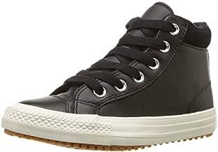Converse Girls' Chuck Taylor All Star High Top Boot Sneaker, Black/Burnt Caramel/Black, 5 M US Big Kid