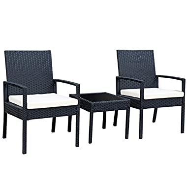 TANGKULA 3 Piece Patio Furniture Set Wicker Rattan Outdoor Patio Conversation Set with 2 Cushioned Chairs & End Table Backyard Garden Lawn Chat Set Chill Time Modern Outdoor Furniture (black)