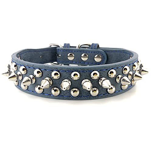 Spiked Studded Dog Collar,Protect The Dog's Neck from Bites. - Fit SmallMedium & Large Dogs (Shining Blue,M) Collar para perro con tachuelas y púas Anti-mordida