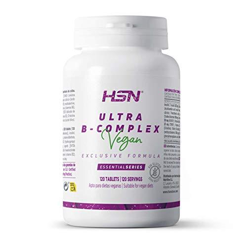 Vitamina B de HSN | Ultra B Complex | Vitaminas del grupo B: B1, B2, B3, B5, B6, B12, Biotina, Ácido Fólico, Inositol y Colina, Apto Vegano, Sin Gluten, Sin Lactosa, 120 tabletas