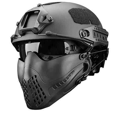 MEYLEE Half Face Lower Mask Taktische Netzmaske, Kann mit schnellem Helm, UV-Schutzbrillen-Kombinationsset, Für Airsoft Paintball Jagdschießen CS verwendet Werden,Black