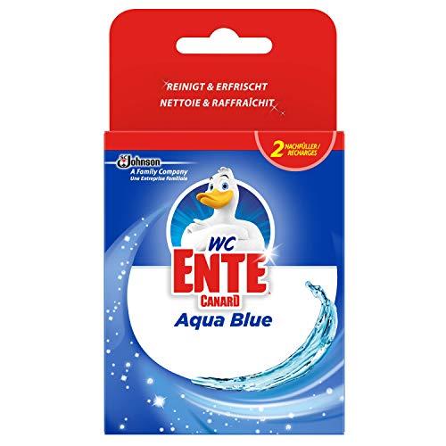 WC Ente Aqua Blue 4in1 Nachfüller WC-Stein für Frische und Sauberkeit bis zu 3 Wochen, Blauspüler, 1er Pack (2 x 40 g)