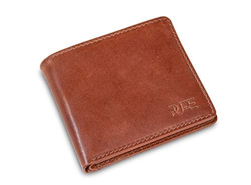 Geldbörse Herren Castor- Handgefertigtes Portemonnaie aus Echtleder I Schlanke Brieftasche mit geprüftem RFID Schutz braun I Mit Geschenk Box