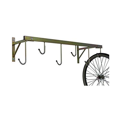 ANDRYS Porta Bici a Parete da Esterni e Interni – Porta Biciclette smontabile Fino a 6 posti – Rastrelliera in Acciaio zincato – Tropical Oro con Tappi in PVC Nero - 3006