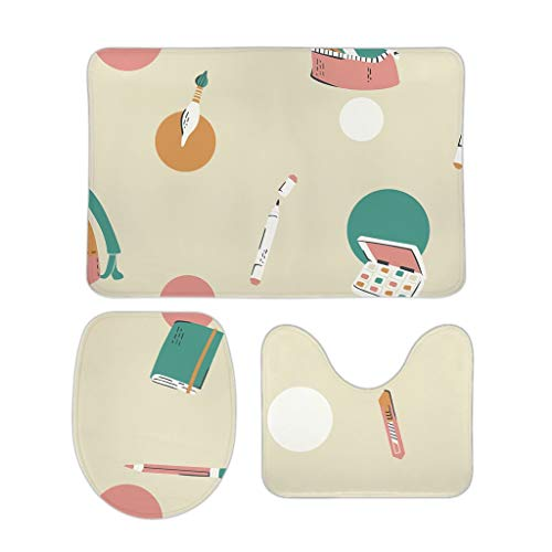 Knowikonwn Juego de 3 alfombrillas suaves para baño, diseño de ilustración artística, cuadradas, en forma de U, lavable, diseño gráfico para decoración de Navidad, color blanco, 50,8 x 78,7 cm