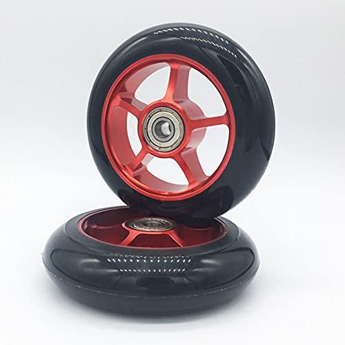 Wxnnx 2 Piezas de Repuesto de Ruedas de Scooter Pro Kick de 100 mm - Rodamiento Liso Instalado - Ruedas de Scooter con núcleo de plástico,3