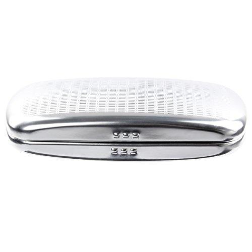 EZESO Brillenetui hart aus Aluminium mit Streifen gefüttert für Sonnenbrillen Gr. Einheitsgröße, silber
