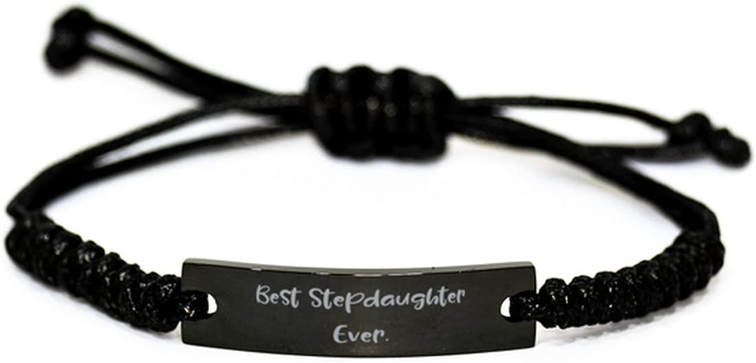 Motivational Stepdaughter Black Rope Bracelet, Best, Gifts for Daughter, Present from Father, Engraved Bracelet for Stepdaughter