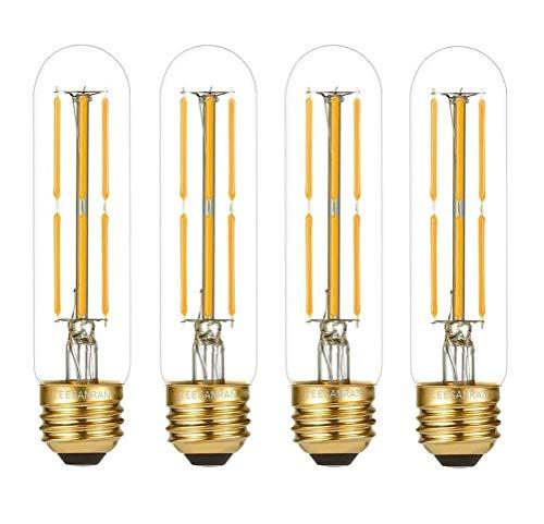 LED Dimmable Tubuar(Tube Shape) T10 Edison Light Bulb, 6W (60w Equivalent), 2700K Soft Warm White, Chandelier, Pendant Wall lamp Lights Decorative, 4 Pack, LEESANRAN Design.