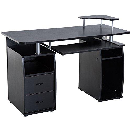 HOMCOM Home Office/Dorm Computer Desk with Elevated Shelf, Black