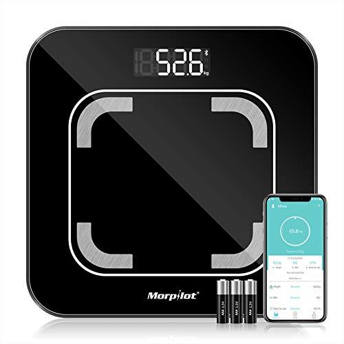 Báscula Grasa Corporal Báscula de Baño Bluetooth Analizar Más de 13 Funciones, Monitores de Composición Corporal por App, Medición de Alta Precisión el Peso Corporal, IMC,Grasa Visceral