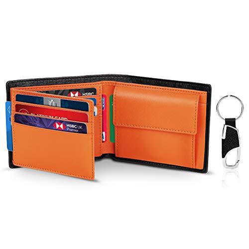 Portafoglio Uomo Slim Trifold Vera Pelle Blocco RFID, con Tasca Portamonete,2 Scomparti Banconote,10 Porta Carte di Credito, Portachiavi. Portafogli Piccolo Sottile Confezione Regalo-nero e arancione