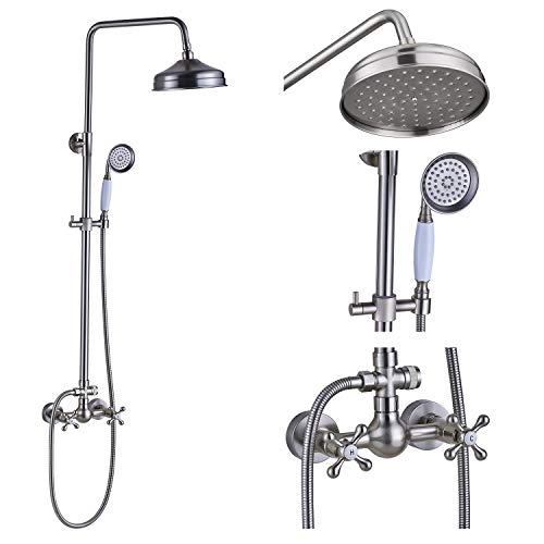 Fantastic Deal! Rozin Bathroom Dual Knobs Mixing Shower Faucet Set 8-inch Top Rainfall Showerhead + ...