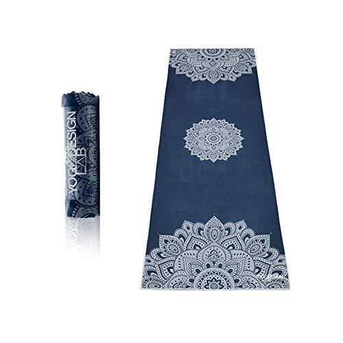 Yoga Design Lab Hot Yoga Handtuch | rutschfest, leicht, recyceltes, saugfähiges Mikrofaser Yogahandtuch | schnelltrocknend, waschmaschinenfest (Mandala Sapphire)