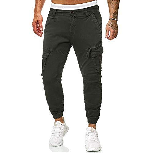 Morbuy Moda Sport Pants Elastici Casuale Maschi Pantaloni Uomo Cargo con Coulisse E Tasche Laterali Trousers