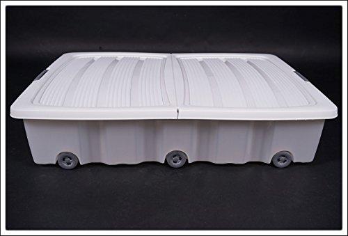 Spetebo Unterbettkommode mit Rollen - 40 oder 60 Liter - Farbe: weiß (80 x 60 x 17 cm (60 Liter))