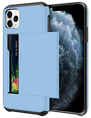 SAMONPOW Wallet Case for iPhone 11 Pro Case with Card Holder Protective Case Dual Layer Shockproof Hard PC Soft Hybrid Rubber Anti Scratch Case for iPhone 11 Pro 5.8 inch (Light Blue)