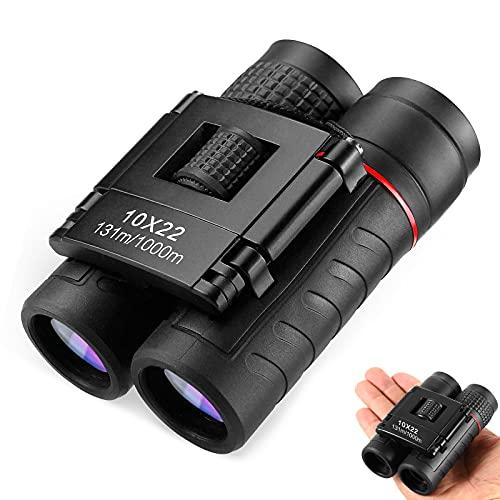 JeoPoom 10x22 Portatile HD Compatto Binocoli, Binocolo Professionale, per Bird Watching, Escursionismo,Campeggio Caccia, Viaggio, Sportivi, Concerti