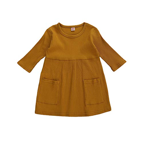 HYUI Toddler Baby Girl Long Sleeve Ribbed Knitted Sweater Solid Ruffle Collar Tutu Dress Fall Winter Clothes Outfit (A-Brown, 1-2T)