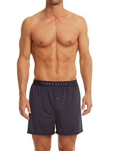 Perry Ellis Men's Luxe Solid Boxer Shorts, Navy, Medium