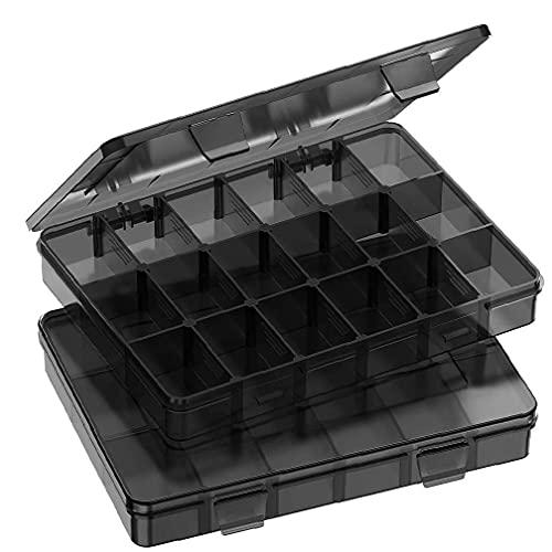 EElabper Scatola di immagazzinaggio a griglia 18 Grid Plastic Organizer Container con distributori Regolabili per Gioielli per Chiodi per Nail Artigianale 2 PCS