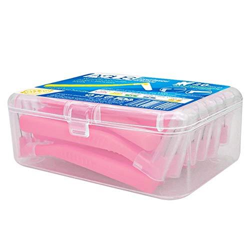 Hilai 1 Caja de Cepillo Interdental Cepillo de Cepillo de Dientes Herramienta Dental Ortodoncia Oral Care Angular Cepillo de Limpieza Para Boca y Encías Sanas(0.6mm, Rosa)