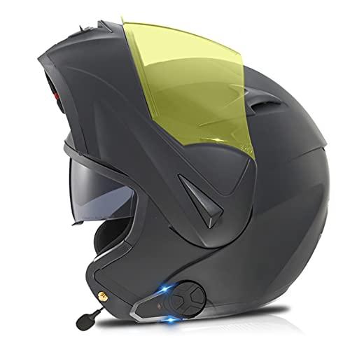 Casco De Moto Modular Con Bluetooth Auriculares De Intercomunicador,ECE/DOT Homologado,Manos Libres, Sin Ruido, Contestador Automático, Visor Doble O,S