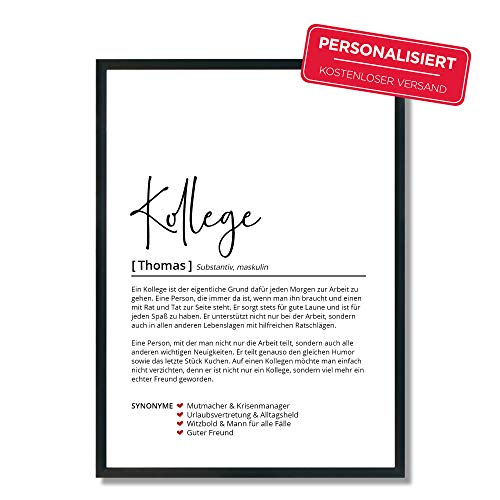 Kollege Definition | Personalisiertes Poster | Geschenk | Geburtstag | Abschied | Arbeit | Wörterbuch | Skandinavisch | OHNE Rahmen