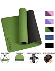 "GSOTOA Upgraded Textured Non-Slip Yoga Mat with Bag Lanyard Knitted Headband, Phthalate-Free Skin-Friendly Exercise Mat and Training Mat for Gyms, Training and Yoga - 72""x 24"" x 6mm"