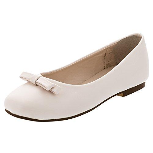 Max Shoes Festliche Mädchen Ballerinas Schuhe Schleife in vielen Farben M344cr Creme 25