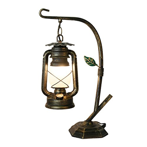 CCLLa lámpara Antigua Kerosene Lantern Village Cafe Lámpara Retro Creativa de Hierro Reading Lamp (Color : Gold)