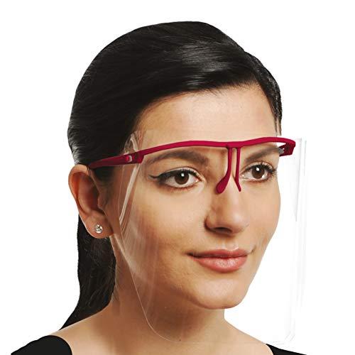YAKO Gesichtsvisier mit Brille, Anti-bakteriell, für bessere Atmung, Anti-Spuck + Anti-Fogg Face Shield, 1 Brille + 3 Visiere zum Auswechseln, in weiß