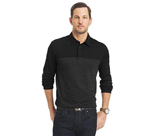 Van Heusen Men's Long Sleeve Jaspe Polo, Colorblock Black, Small