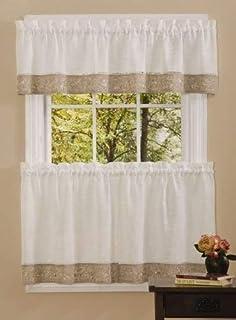 "Achim Home Furnishings, Natural Oakwood Tier Pair, 58 24-Inch, 58"" x 24"""