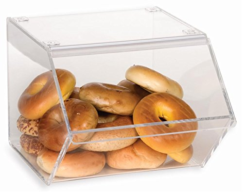 Clear Bakery Display Case for Bagels And Other Baked Goods, 12 x 10-1/8 x 15-3/4 Inch, Stackable With A Hinged, Slanted Door