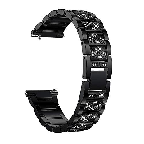 HGNZMD Correa De Reloj para Cristal Compatible con Galaxy Watch 42 / 46Mm, Correas De Repuesto Pulsera De Acero Inoxidable Band De Bandas De Metal Compatible con Galaxy Watch 42 / 46Mm,Black 42mm