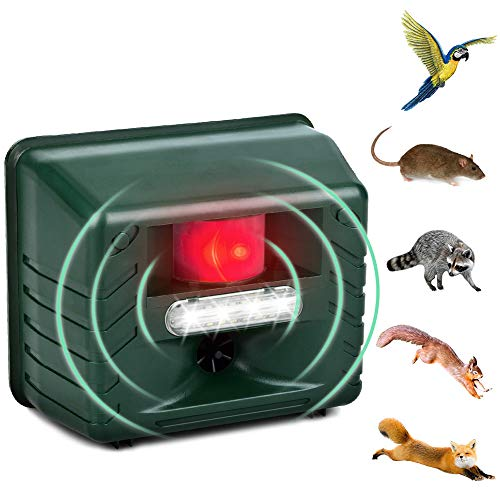 Dog Cat Repellent, Ultrasonic Animal Repellent with Motion Sensor And Flashing Lights Outdoor Solar Powered Waterproof Farm Garden Yard Repellent, Cats, Dogs