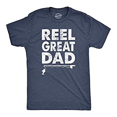 Mens Reel Great Dad T Shirt Funny Fathers Day Fishing Tee Gift for Fisherman (Heather Navy) - M